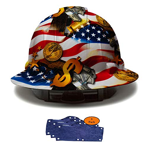 Full Brim Hard Hat, Hydrodipped American Flag Money Design Safety Helmet 4pt + 3pk Navy Hard Hat Sweatband, by AcerPal