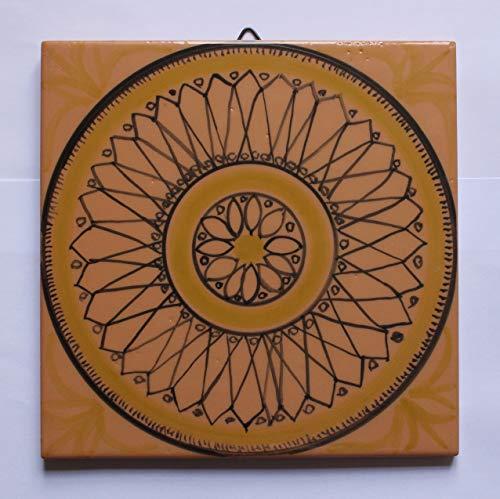 Geometrische Fliese-Quadratische glasierte Keramikfliese, Größe cm 20x20x0,7 cm, handgefertigt, mit Haken zum Anbringen an der Wand.Hergestellt in der Toskana, Lucca, erstellt von Davide Pacini.