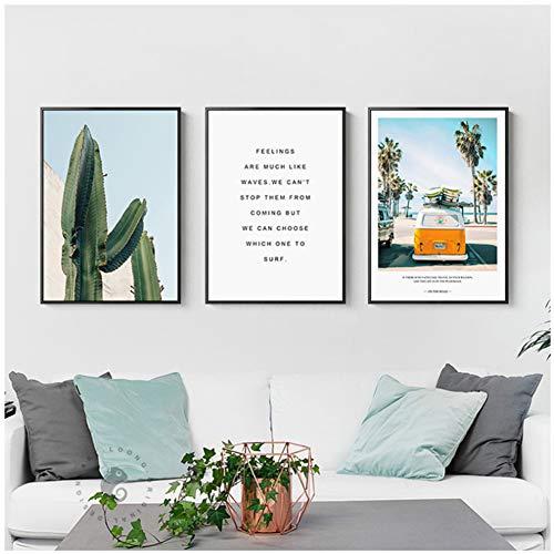 Generieke cactus canvas HD Amerikaanse stijl zomer reis strand bus schilderij poster en print home decor muurkunst voor woonkamer slaapkamer 50 x 70 cm x 3 stuks-geen lijst