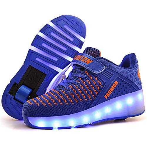 AYUSHOP - Zapatillas de deporte para niños con doble rodillo ajustable LED divertido moda Cross Trainers Skate, para deportes al aire libre y gimnasia, color azul, 33