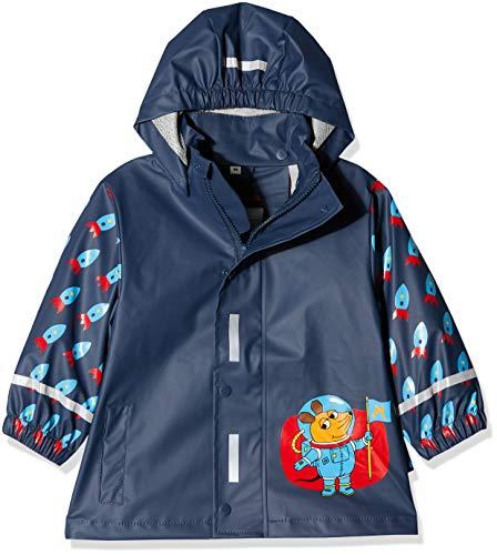 Playshoes Jungen Regen-mantel die Maus Weltraum Regenjacke, Blau (Marine 11), 92 EU