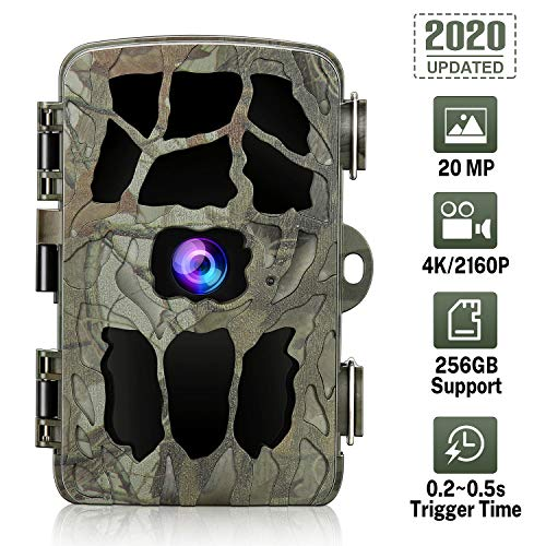 GRM Wildlife Camera, Trail Game Camera 20MP 4K Trail Camera with Night Vision Motion Activated IP66 Waterproof 0.2s Trigger Speed for Garden Wildlife Watching Support 256G TF Card (Not Included)