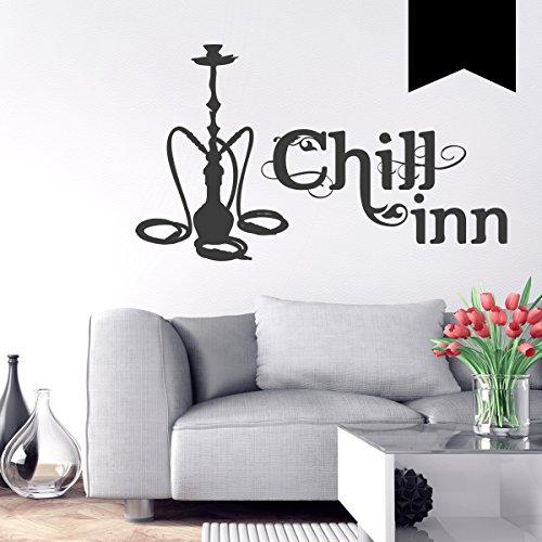 WANDKINGS Wandtattoo Chill-Inn (mit Wasserpfeife) 50 x 30 cm schwarz - erhältlich in 33 Farben