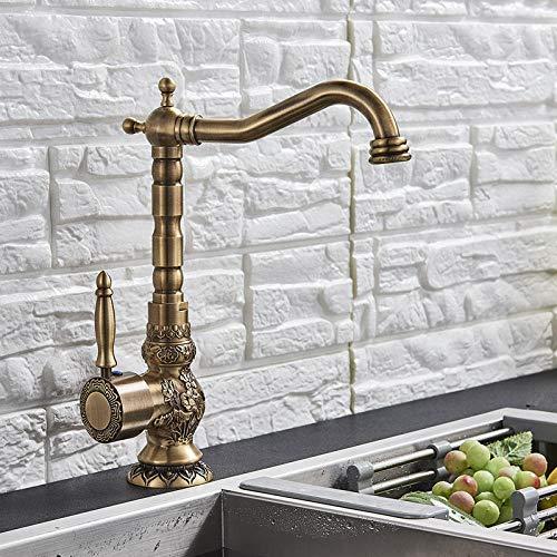 Nian Grifo de lavabo de baño de latón antiguo montado en la cubierta, grifo mezclador con orificio de una sola manija, grifo tallado, grifo mezclador frío caliente