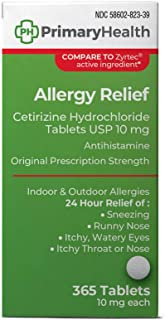 Primary Health 24 Hour Allergy Relief Cetirizine Hydrochloride 10mg Tablets, 365Count