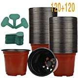 120 Pack 4' Plastic Plant Nursery Pots Pack for Seedling & Cutting, Plant Seed Starting with 120 Pcs Green Plant Labels