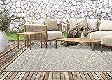 the carpet Calgary In- & Outdoor Teppich Flachgewebe, Modernes Design, Trendige Farben, Superflach, UV- und Witterungsbeständig, Beige, 120 x 160 cm