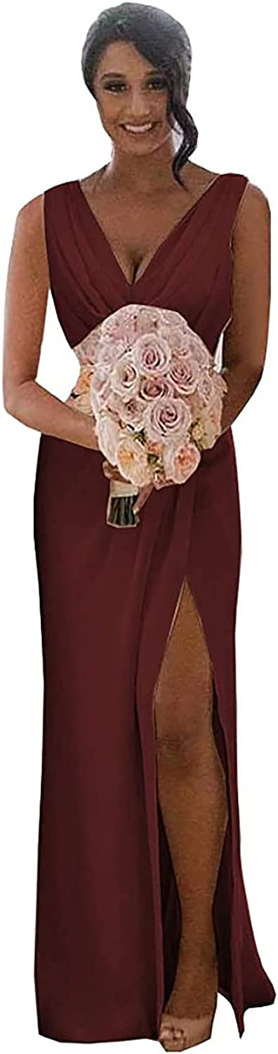 LRQGWJL Women's Chiffon Bridesmaid Dresses Ruched V Neck Wedding Evening Party Gowns Long with High Slit