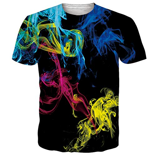 RAISEVERN T Shirt für Männer Frauen 3D Print Blau Schwarz Teenager T Shirt Sommer T-Shirts Kurzarm XXL