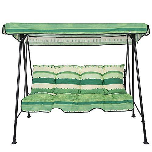 PATIO 3-Sitzer Hollywoodschaukel Tora 138 cm Gartenschaukel Schaukelbank Sonnendach Rückenkissen Sitzpolster mit Volant (Grün/Streifen)