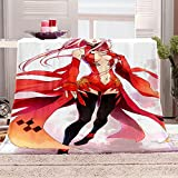 ZSDWGL Mantas para Sofás Microfibre Extra Suave Multifuncional para sofá Cama Viajes Viajes Adultos niños 180 x 220 cm Chica de animación roja