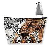 Bolsa de Maquillaje de Viaje Cool Tiger Tiger Animal Painting Bolsa de Maquillaje Toiletry Storage Clutch Organizer con Cremallera para Mujeres y Hombres