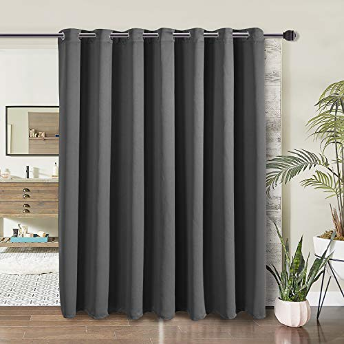 WONTEX Room Divider Curtain- Privacy Blackout Curtains for Bedroom Partition, Living Room and Shared Office, Thermal Insulated Grommet Curtain Panel for Sliding Door, 8.3ft Wide x 7ft Long, Grey