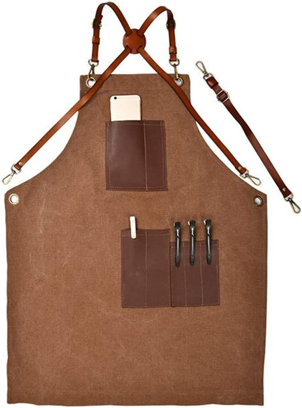 NeoMcc Canvas Work Time sale Aprons with 5 popular Leather Tool Barist Pockets Strap