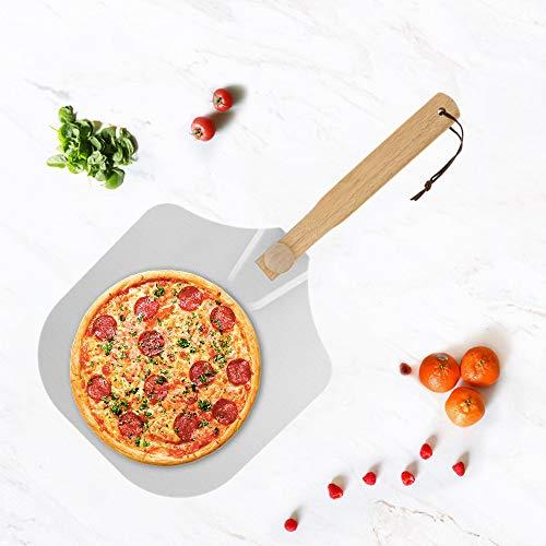 Pizzaschieber Pizzaschaufel Pizza Schieber mit großer Fläche große Pizza Schaufel mit Holzgriff Pizzaheber Brotschieber für Backofen Pizzastein Aluminium Ofen Zubehör 60cm x 30cm