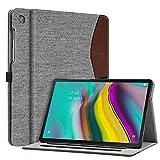 Fintie Hülle für Samsung Galaxy Tab S5e 10,5 Zoll SM-T720/T725 2019 Tablet - Multi-Winkel Betrachtung Stoff Schutzhülle mit Dokumentschlitze & Auto Schlaf/Wach Funktion, Denim grau
