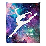 CUXWEOT Custom Blanket with Name Text Personalized Music Dance Galaxy Soft Fleece Throw Blanket for Gifts (50 X 60 inches)