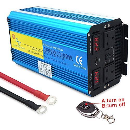 HYM 2019 3500W / 7000W Auto-Wechselrichter mit reinen Sinuswellen, DC 12V / AC 220V-Wandler, drahtloser Fernbedienung, Zwei Wechselstromsteckdosen und USB-Autoadapter
