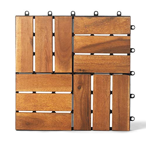 Wood Interlocking Flooring Tiles (12