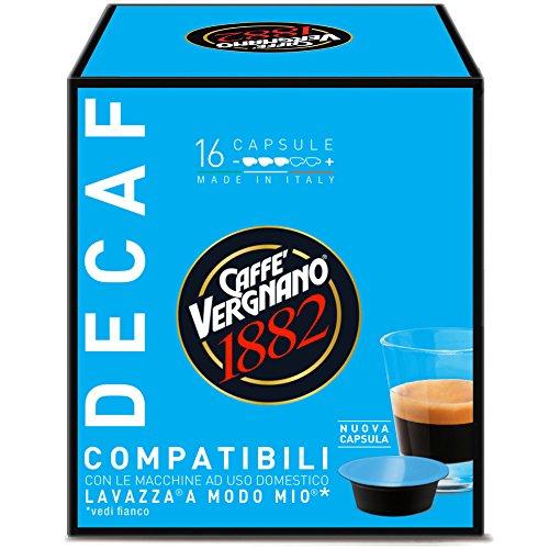 Caffè Vergnano 1882 Capsule Caffè Compatibili Lavazza A Modo Mio, Decaffeinato - 8 confezioni da 16 capsule (totale 128)