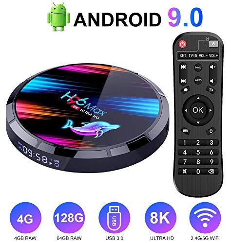 OKEU Android TV Box H96 Max X3 4 GB + 128 GB】 Smart TV Box con Amlogic S905X3 64-bit Quad Core/admite 4K/H.265/WiFi 2.4G/5G/USB 3.0 Android 9.0 TV Box: Amazon.es: Electrónica
