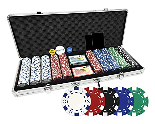Da Vinci 500 Piece Executive 11.5 Gram Poker Chip Set with Case, 2 Decks of Plastic Playing Cards, Dealer Buttons and 2 Cut Cards - Dice Striped