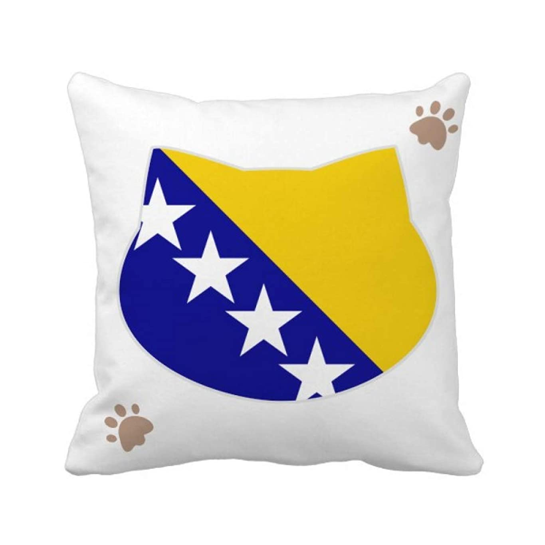 永遠に何か迷信ボスニア?ヘルツェゴビナの国旗の国 枕カバーを放り投げる猫広場 50cm x 50cm