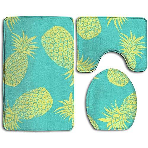 qinzuisp 3-delige badmat ananas patroon mintgroen absorberend tapijt sets toilet badmat badtapijten anti-slip bad tapijten douche badkamer 3 stuks sets tapijt