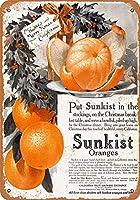 1915サンキストオレンジクリスマスビンテージ金属標識のための