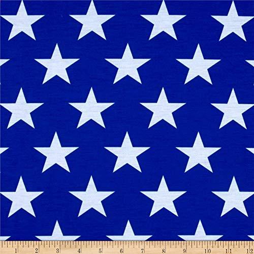 EZ Fabrics E.Z. Fabric Poly Spandex Jersey Knit Stars Print, Yard, Royal/White