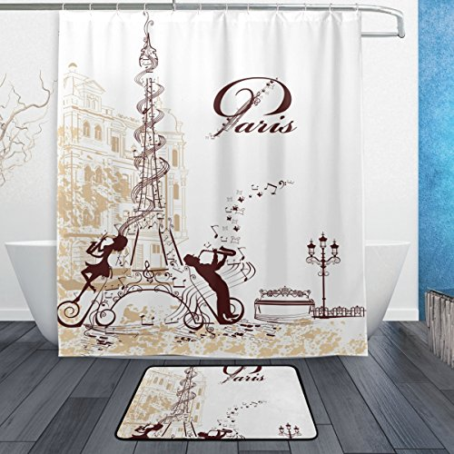 JSTEL Eiffelturm 3-piece Badezimmer-Set maschinenwaschbar, für den täglichen Gebrauch, 60x 72cm, wasserdicht, Duschvorhang, 12Haken mit rutschfester Badteppich, Teppich, Set mit 3Stück