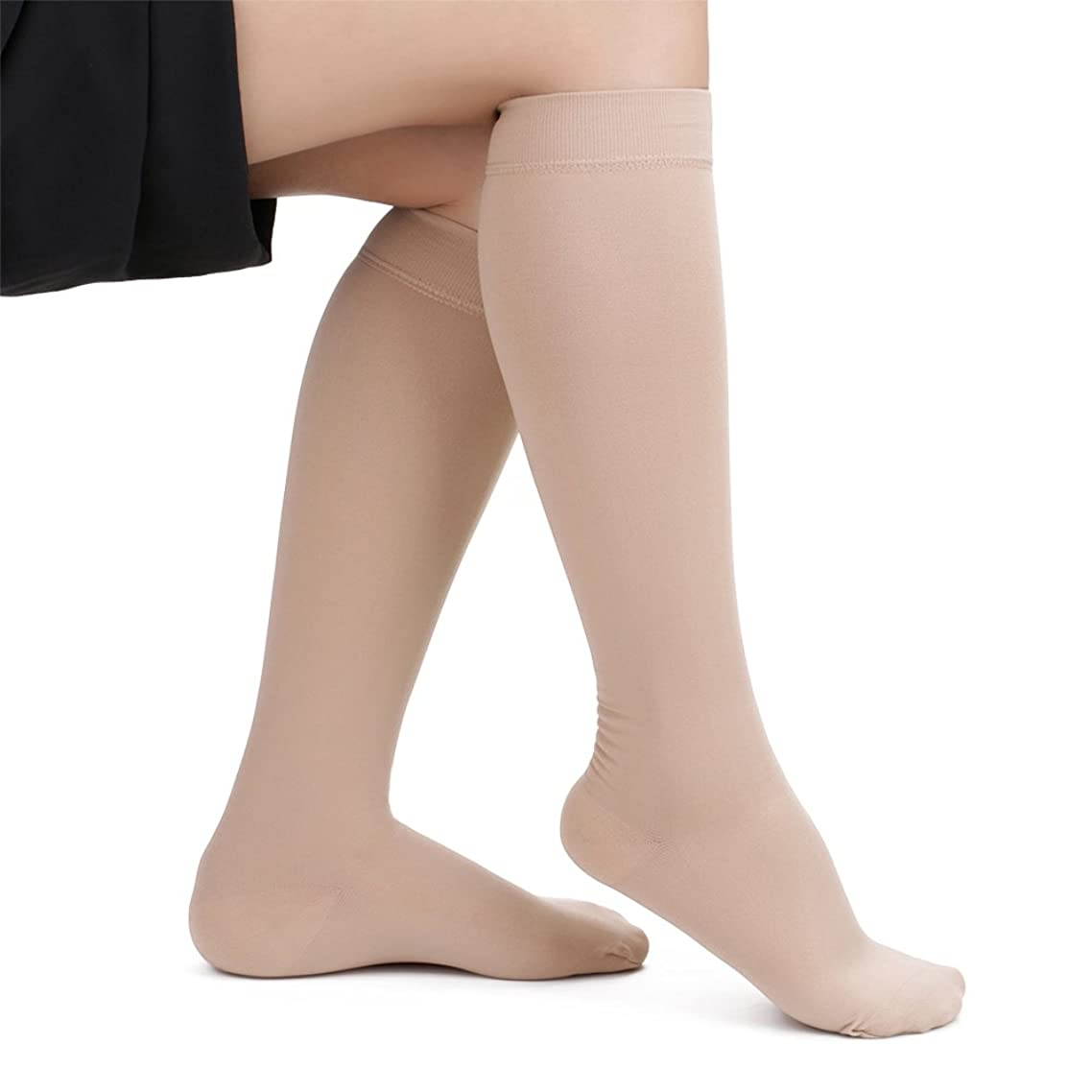 SWOLF Open Toe Compression Socks for Women & Men, 20-30 mmHg Medical Gradient Compression Stockings Toeless Knee High - 15-20mmhg Maternity Nursing Firm Support Hose Relief Moderate Varicose Veins