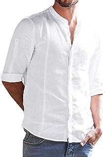 f19ee4285de ADOSSAC Men s Casual Long Sleeve Dress Shirt Button Down Solid Color Lapel  Shirt