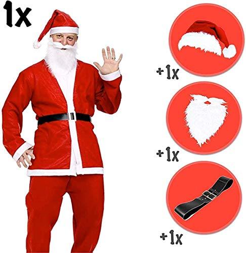 TK Gruppe Timo Klingler XXL Weihnachtsmann Set - Nikolaus Verkleidung Nikolauskostüm Weihnachtsmannkostüm Kostüm mit Bart, Gürtel, Mütze für Unisex Erwachsene
