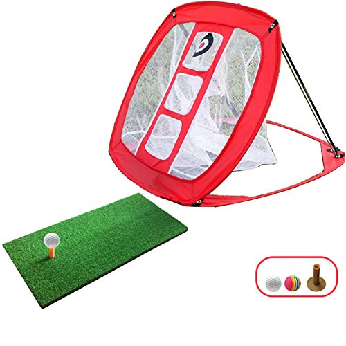 CGBF-Golf Chipping Net Pop Up Golf Practice Net with 3 Targets for Improving Accuracy Hitting Net Golf Net for Indoor Outdoor Backyard Practice Swing Game,Red