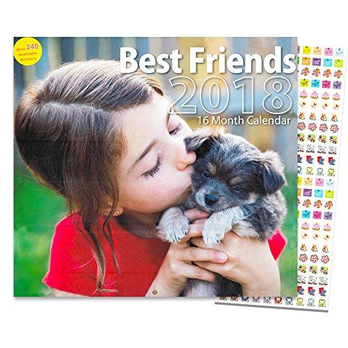 Deluxe Animal Friends Calendar 2018 - Deluxe Kids with Animals Wall Calendar with Over 200 Calendar Stickers (12x12)