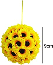 Maritown 9CM Artificial Silk Flower Sunflowers Bouquet Hanging Kissing Ball Garland for Home Garden Wedding Christmas Birthday Party Decoration