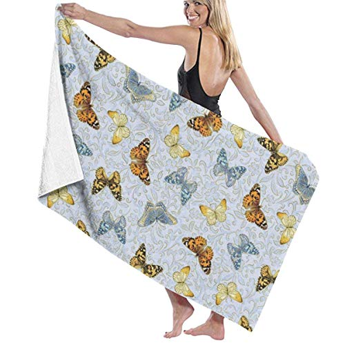 Toallas Shower Towels Beach Towels Bathroom Towels Toalla De Baño Toallas de baño retro mariposas azules para acampar Toalla 130 x 80 CM