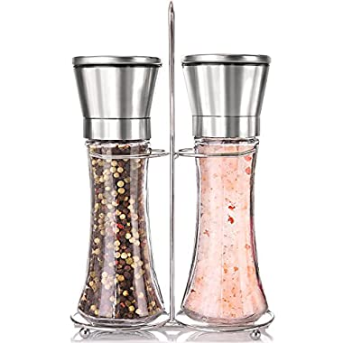 Premium Stainless Steel Salt and Pepper Grinder Set With Stand - Tall Salt and Pepper Shakers with Adjustable Coarseness - Salt Grinders and Pepper Mill Shaker Mills Set