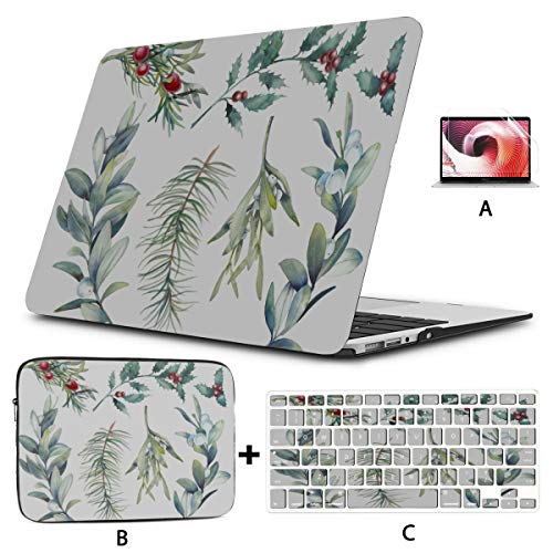 Macbook Air Case 13 Christmas Holly With Red Berries Decoration Macbook Pro Shell Hard Shell Mac Air 11'/13' Pro 13'/15'/16' With Notebook Sleeve Bag For Macbook 2008-2020 Version