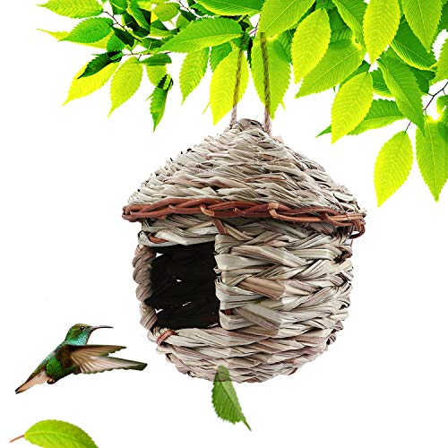 Kimdio Bird House,Winter Bird House for Outside Hanging,Grass Handwoven Bird Nest,Hummingbird House,Natural Bird Hut Outdoor,Birdhouse for Kids,Songbirds House (A - House)