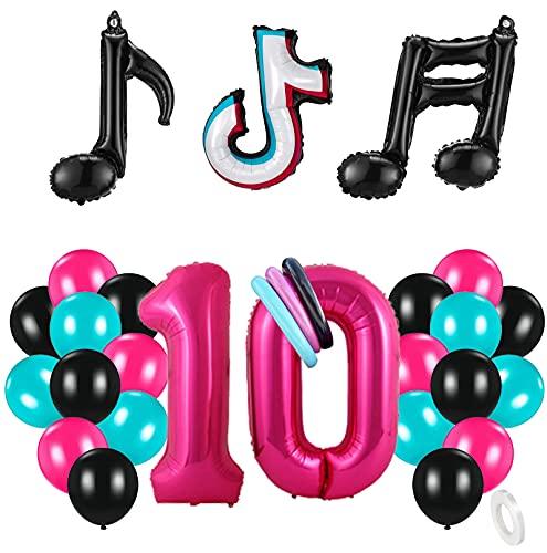 10 Años Decoración de Cumpleaños Fiesta de Música Gigante Número 10 (100 CM) Decoración de Fiesta Musical de Tik Tok Globos de Látex Lámina Azul Tiffany para Adultos Niños Niñas