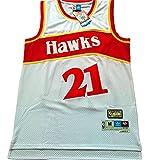 KKSY Camisetas de Hombre Atlanta Hawks # 21 Dominique Wilkins Camisetas de Baloncesto Chaleco Transpirable Retro,White,S