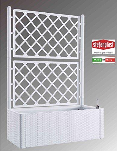 Stefanplast stf639Jardinera Deluxe con espaldera, Color Blanco