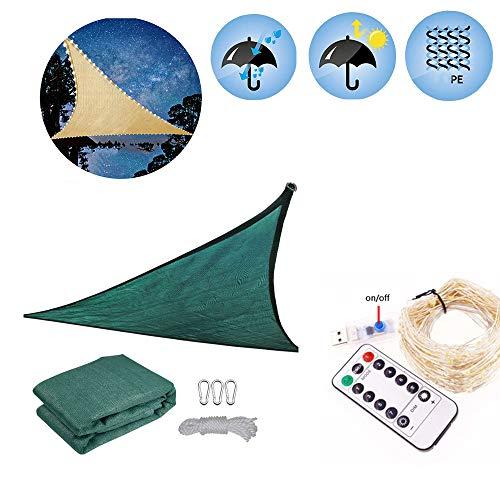 AZUOYI Sonnensegel Dreieck Mit 200 LED Nachtlichtern Terrakotta Atmungsaktiv Sonnenschutz PE Windschutz Mit UV Schutz Für Garten Terrasse Camping,Grün,3x3x3M