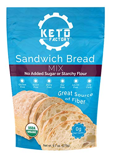 Keto Factory Sandwich Bread Mix, 9.7 Oz | 100% Organic, Keto and Diabetic Friendly, 0g Net Carbs, Gluten-Free, High 4g Dietary Fiber, Dairy Free, Grain-Free, No added Sugars