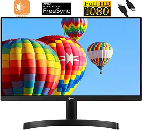 "2020 Premium LG 27"" 1920 x 1080 FHD IPS Anti Glare Monitor: Radeon FreeSync, Smart Energy Saving, Dynamic Action Sync, Black Stabilizer, Crosshair, Reader Mode, Wall Mountable + iCarp HDMI Cable"