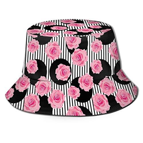 Pétalos de rosa románticos sobre círculos minimalistas y rayas de amor moderno fondo unisex impresión de doble cara reversible sombrero de cubo