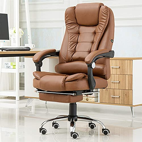 Pu Leather Home Office Chair with Footrest Desk Chair, Reclining Executive Office Chair High Back Task Chair with Headrest 60X42x100-109Cm(23.6X16.5X39.3-43In),Brown