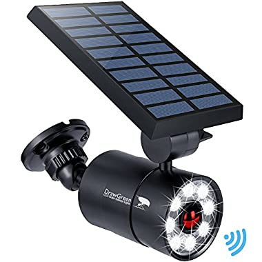 DrawGreen Solar Lights Outdoor Motion Sensor Aluminum,1400-Lumens Bright LED Spotlight 9-Watts(110W Equivalent),Wireless Solar Flood Security Lights Garden Porch Patio,Solar Powered Lights(Black)